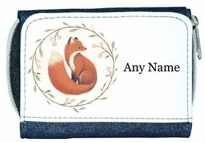 Personalised Denim Purse With FOX