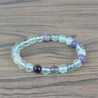 Fashion Natural 8mm Rainbow Fluorite Round Gemstone Beads Stretch Bracelet