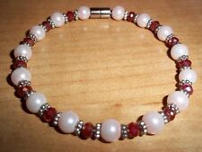 8 in PINK Pearl Dark RED Crystal Bracelet MAGNETIC Clasp A-43 Quality Jewelry