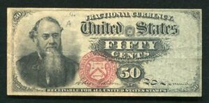 FR. 1376 50 FIFTY CENTS FOURTH ISSUE FRACTIONAL CURRENCY NOTE VERY FINE (B)