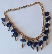 VINTAGE EARLY MIRIAM HASKELL BLUE BEAD CLEOPATRA NECKLACE