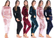 Women Crushed Velvet Loungewear Hoodies Pant Trouser Pajamas 2pcs Set Tracksuit