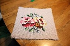 VINTAGE  Small flower Needle Point Square  (E)