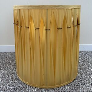 """Hollywood Regency Vintage drum lampshade large 13"""" Pleated Gold Yellow 1960s"""
