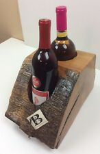 New Rustic Live Edge Oak 2 Bottle Wine Display Rack Holder by Bontrager Artistry