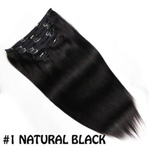 """7pcs 20"""" Clip In Remy Real 100% Human Hair Extensions Full Head 160 gram"""