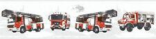 Tapeten Bordüre Kinder Struktur Feuerwehr Autos LKW weiß rot 35814-1