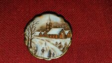 Miniature Limoges Porcelain Collectible Plate Winter Church - No Stand