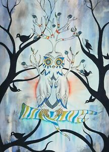 Owl Forest Eyes Surreal Watercolor and Ink - ACEO Archival Print 7 of 10