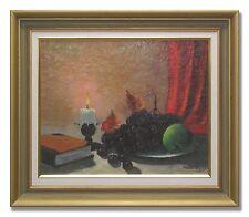 KNUT ERIK NILSSON / STILL LIFE WITH BURNING CANDLE-Original Swedish Oil Painting
