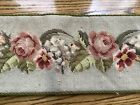 """Vintage Tapestry Needlepoint Flowers Lined Wall Hanging Table Runner Mat 45""""x7"""""""