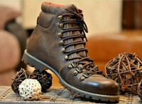 Men's Vintage Brown Biker Boots Handmade Trekking Hiking Real Cow Leather Shoes