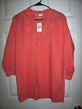 "WOMEN'S KRAZY KAT ORANGE L/S TOP SIZE XL BUST 46"" LENGTH 29"" NEW $35 TAGS!"