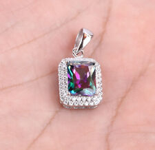 SQUARE TOPAZ .925 SOLID STERLING SILVER PENDANT #21640