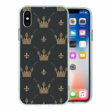 For Apple iPhone XS Silicone Case Bling Black Gold Vintage Crown - S647
