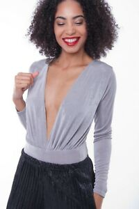 Womens Grey Top Slinky Plunge Neck Bodysuit Ladies Long Sleeve Sexy Blouse