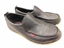 Simple Dress Casual Loafer Shoes Size 9.5 Black Leather Rubber Soles XGBUC