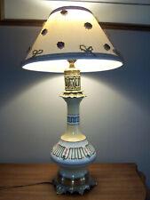 Lampe à pétrole  Bronze et porcelaine