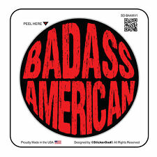 "BADASS AMERICAN V1 circle (6 Pack)Hard Hat Printed Sticker (size: 2"" color:B/R)"