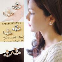 Mujer Pendientes de botón Perla Cristal Aretes joyería Ear Stud Earrings
