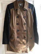 Mangas De Color Beige, Negro Cuero de abrigo con cremallera, botones River Island Diseño Talla 10