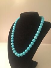 "Beautiful 14K Yellow Gold Large Turquoise Beaded Necklace - 18"" Long - 10.2 MM"