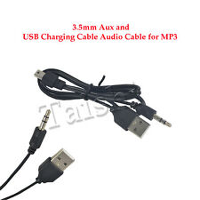 Mini 5 Pin 3.5 mm Aux + Usb Charging Male Cable Audiocabel for Mp3 Black