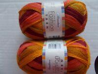 Herrschners Fashion Yarn 2-ply, Tuscan Sun, lot of 2 (200 yds each)