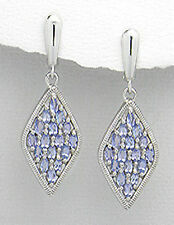 "Tanzanite Earrings Solid Sterling Silver Dangle 1.7"" Latch Backs 9.47g GORGEOUS"