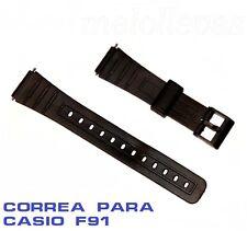 Correa de plastico negra para reloj Casio modelo F-91 18mm con pasadores