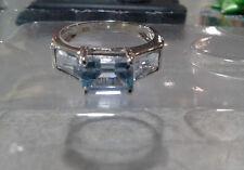 10k WG White Gold 2 CTW 3 Stone Emerald Cut Aquamarine Topaz Ring- Free Ship