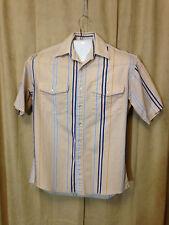 Mens Wrangler Western Shirt Size M Beige Striped Short Sleeve 100 % Cotton