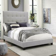 Queen Size Platform Bed Frame w/Tufted Headboard Gray Upholstered Bed Wood Frame