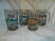 HAND PAINTED  SALTWATER FISH ON A SET OF 4 GLASS BEER MUGS. EACH MUG W/DIFF FISH