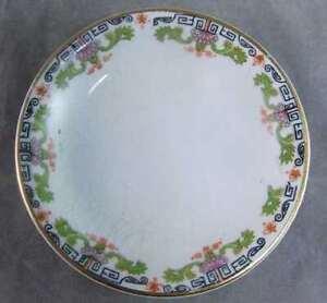 Antique Porcelain Black Design Floral Design Butter Pat