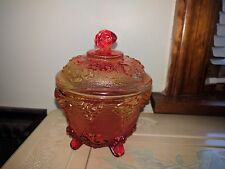 Red Glass Sugar Bowl With Lid And Grape Design