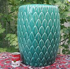 PALM TREE chinese celadon garden stool ceramic tropical green pottery chair art