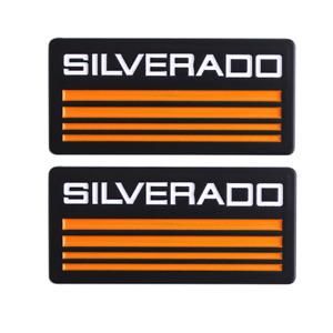 2x Chevy Yellow SILVERADO Emblem Car Fender Door Badge for Silverado 1500 2500