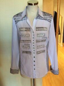 Just White Blouse Size 14 BNWT White Grey Stripes RRP £123 Now £43