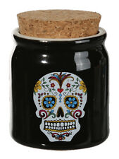 Day of the Dead Sugar Skull Ceramic Pot avec bouchon couvercle en Noir-GRATUIT UK p&p