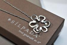 "Silpada N1347 Cut Out Flower Pendant Necklace .925 Sterling Silver 16"" Earrings"