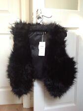 Womens Black Faux Fur Waistcoat gilet body warmer jacket
