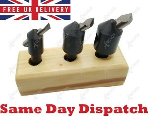 """3 Piece Engineers Fly Cutter Set With HSS Round Tool Bits 3/8"""" Shank + Stand"""