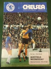 Chelsea V Sheffield Wednesday Programme FA Cup 3rd Round 4/1/75