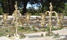 Paire de Petits Candélabres Rocaille en Bronze doré Bougeoirs