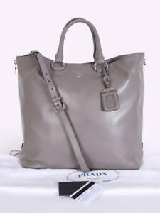 PRADA Vitello BN2865 Soft Calfskin Tote Bag Gray (Argilla)