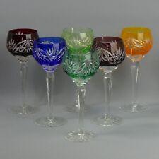 More details for vintage set of six bohemian colour flased & cut crystal hock glasses