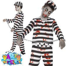Sneaky Robber Kid Fancy Dress Inmate Criminal Prisoner Boys Childs Costume M-XL