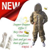 3-Schicht-Imkerschutz voller Anzug belüftete Jacke Fencing Veil Khaki