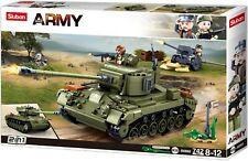 Sluban Char Américain + canon anti char Allemand + bazooka + panneau 3 figurines